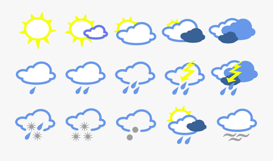 Rain Symbol - Simple Weather Map Symbols, Transparent Clipart