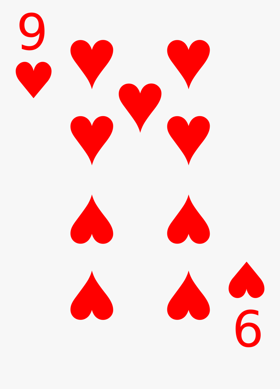 Banner Library File Cards Heart Wikimedia Commons Open - 9 Of Hearts Playing Card, Transparent Clipart