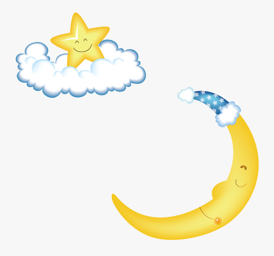 Transparent Moon Outline Png - Moon And Star Background Cartoon Hd, Transparent Clipart