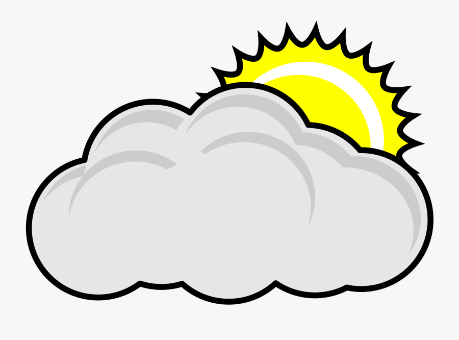 Cloudy Sun Nature - Partly Cloudy Clipart Black And White, Transparent Clipart