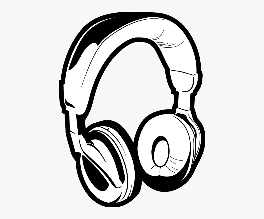 Computer Headphone Clipart Black And White - Black And White Headphone, Transparent Clipart