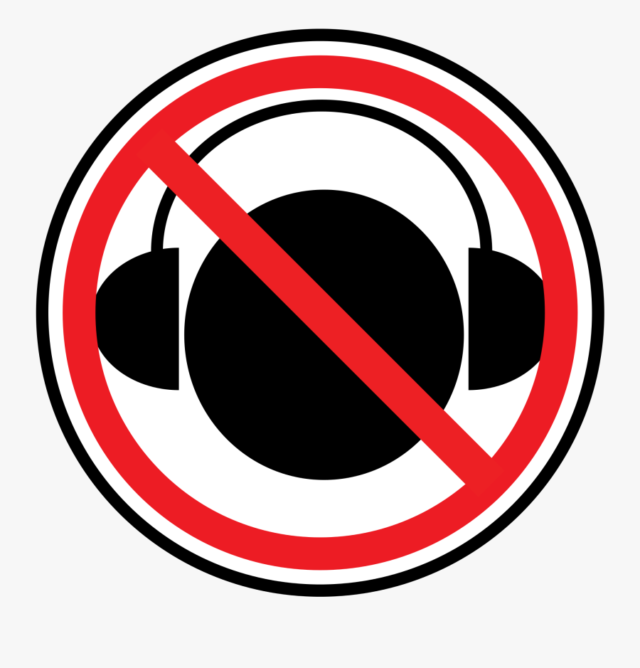 Headphone Clipart 20, Buy Clip Art - No Headphones In The Workplace, Transparent Clipart