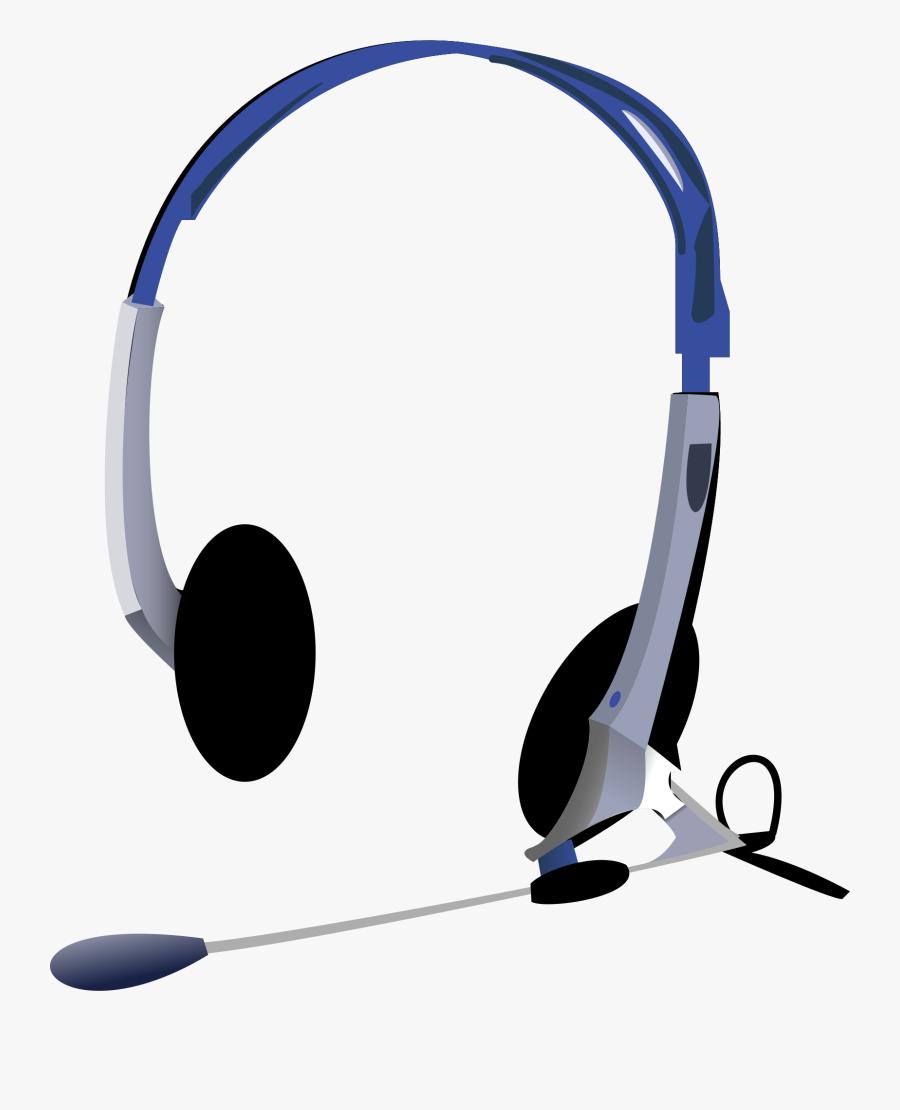 Headphones - Microphone Headset Vector Art, Transparent Clipart