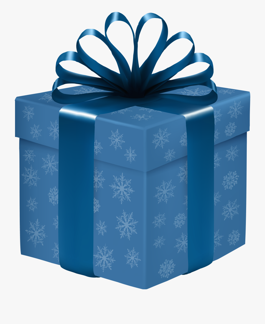 Blue Gift Box With Snowflakes Png Clipart - Blue Gift Box Png, Transparent Clipart
