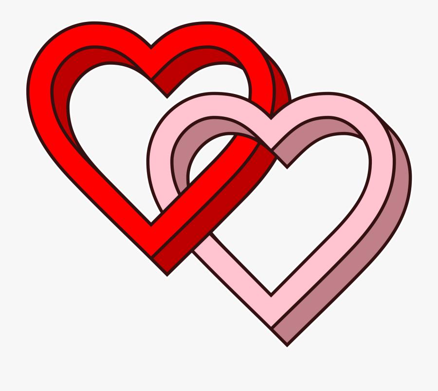 Transparent Two Hearts Clipart - Love Hearts, Transparent Clipart