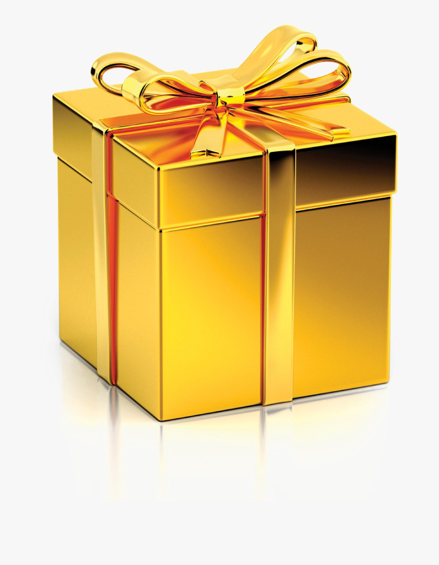 Golden Gift Png Clipart Background - Christmas Gift Box Gold, Transparent Clipart