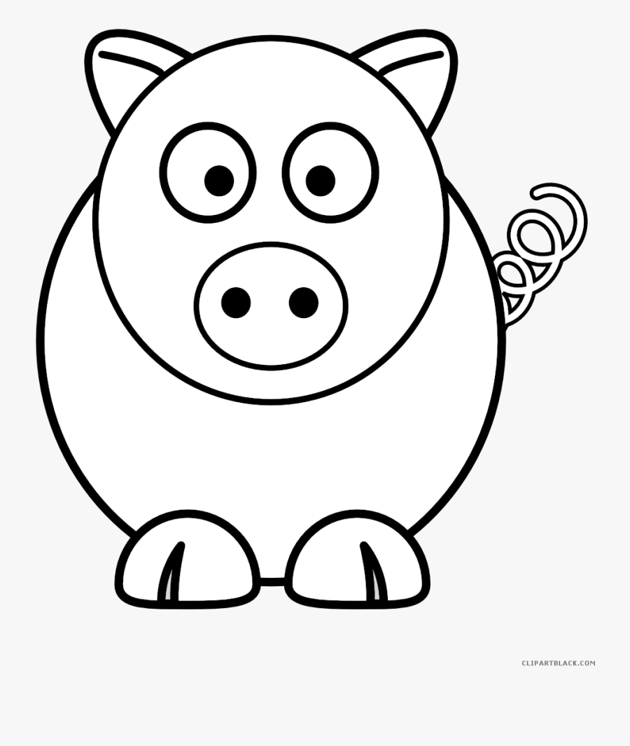 Pigs Clipart Outline - Simple Easy Animal Drawings, Transparent Clipart