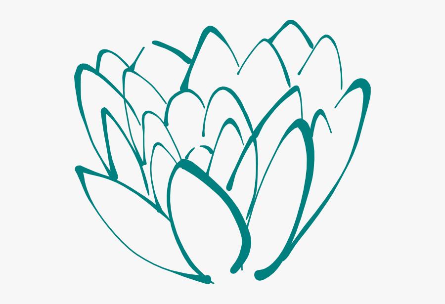 Teal Clip Art At - Lotus Flower Clip Art, Transparent Clipart