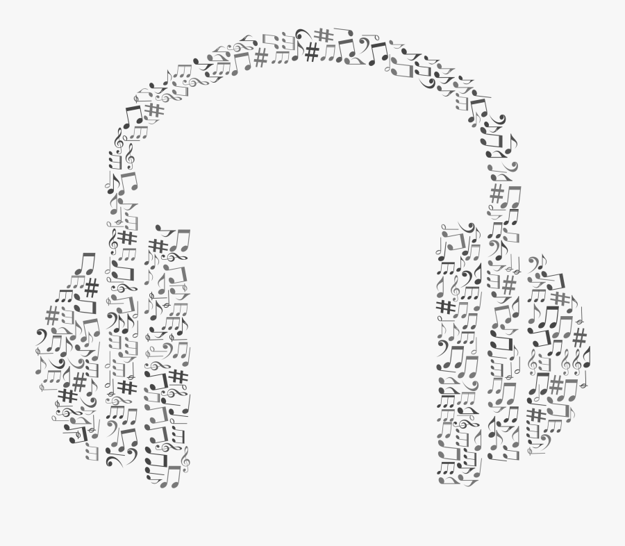Headphones Music Note Clipart - Headphones With Musical Notes, Transparent Clipart