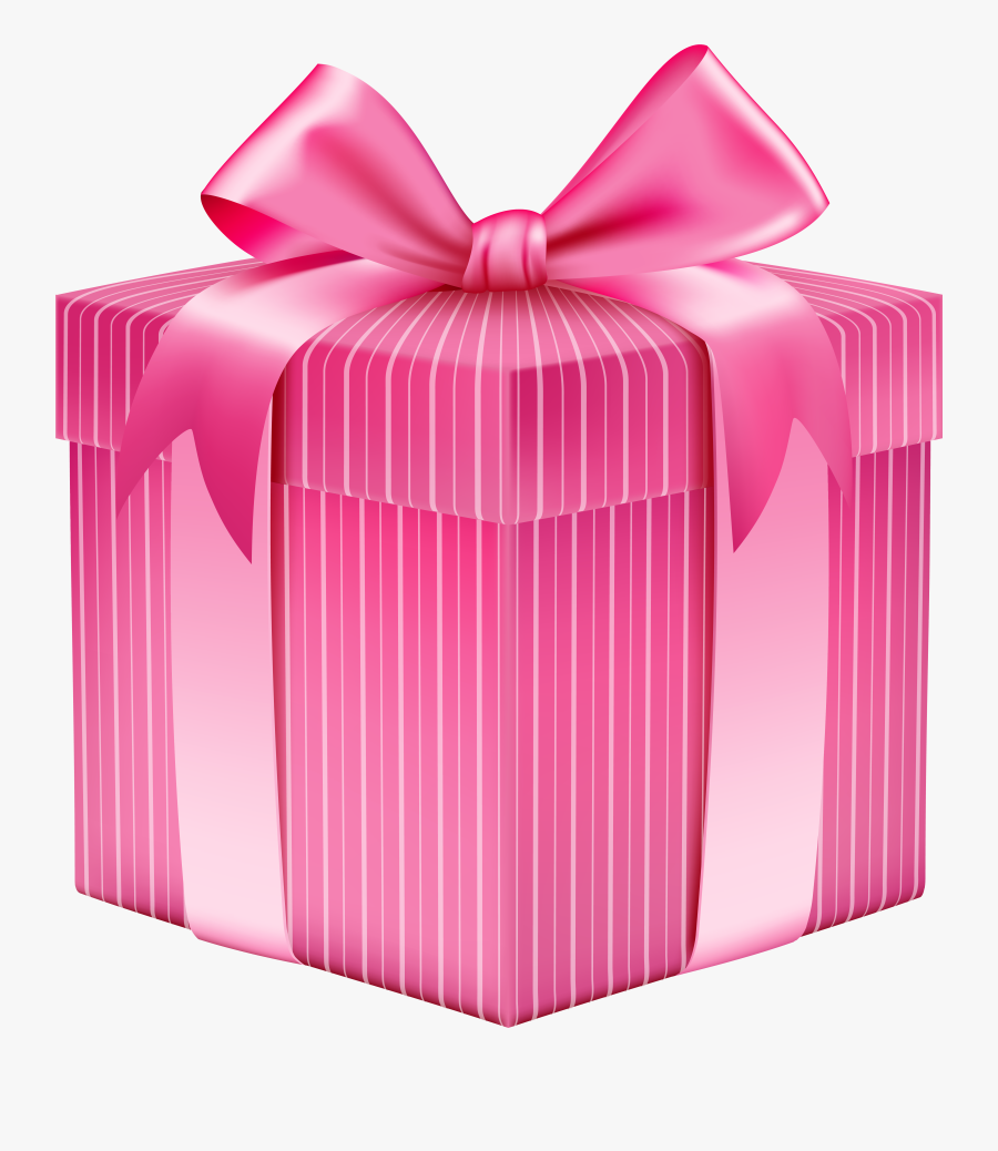 Picture Transparent Download Pink Striped Gift Box - Pink Colour Gift Box, Transparent Clipart