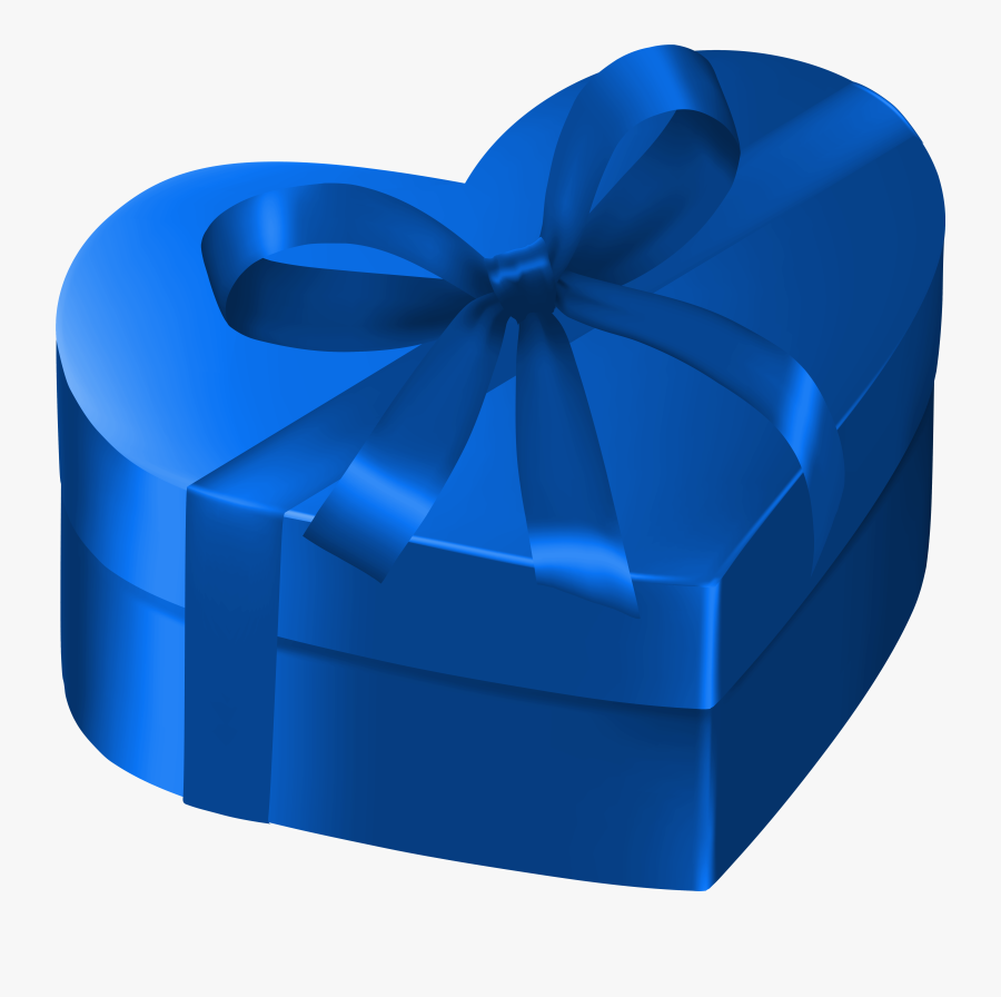 Blue Heart Gift Box Png Clipart Image - Blue Gift Box Png, Transparent Clipart