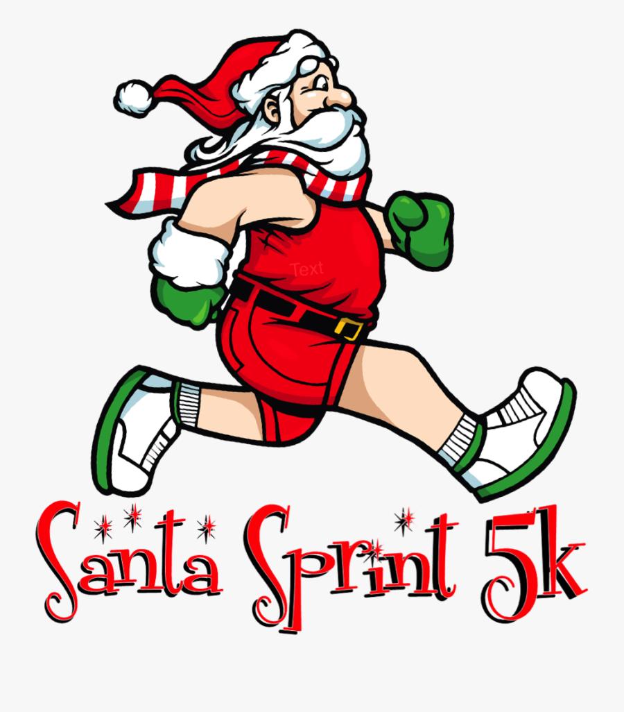 Santa Sprint - Santa Claus Running Png, Transparent Clipart
