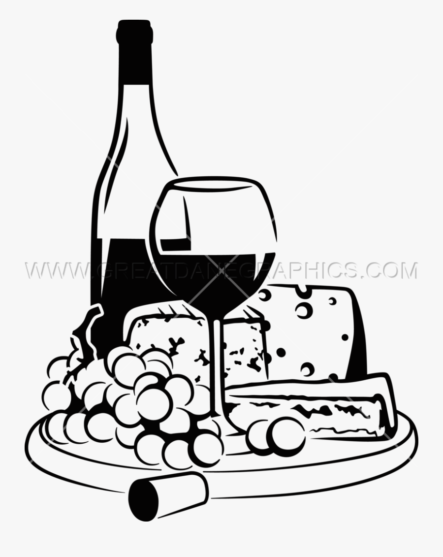 Wine Bottles Drawing At Getdrawings - Wine And Cheese Black And White, Transparent Clipart