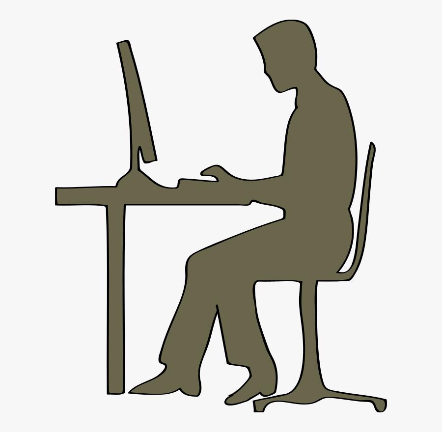 Computer Desk - Man Sitting At Computer Clipart, Transparent Clipart