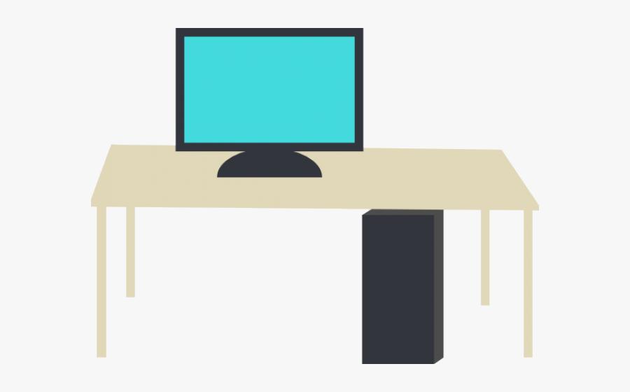 Desk Clipart Small Desk - Computer On Desk Clipart, Transparent Clipart