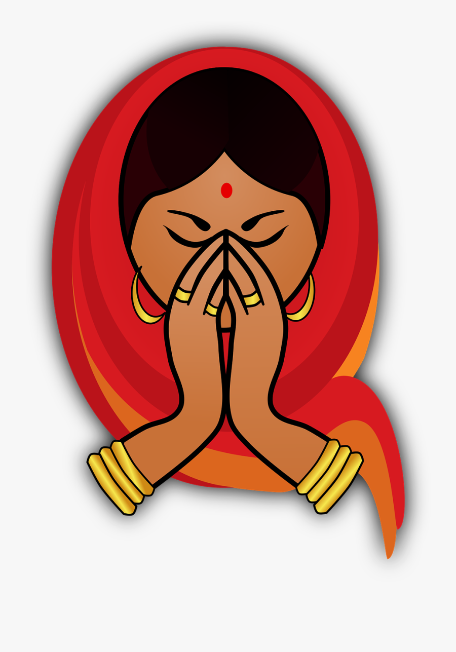 Indian Cuisine Namaste Download Drawing - Welcome Women, Transparent Clipart