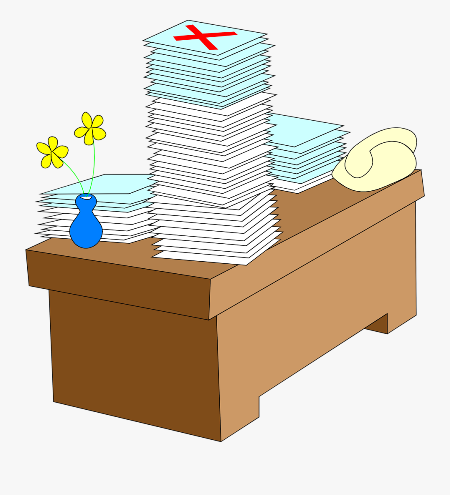Stack Of Clipart Cartoon - Stacks Of Paper On Desk Clipart, Transparent Clipart