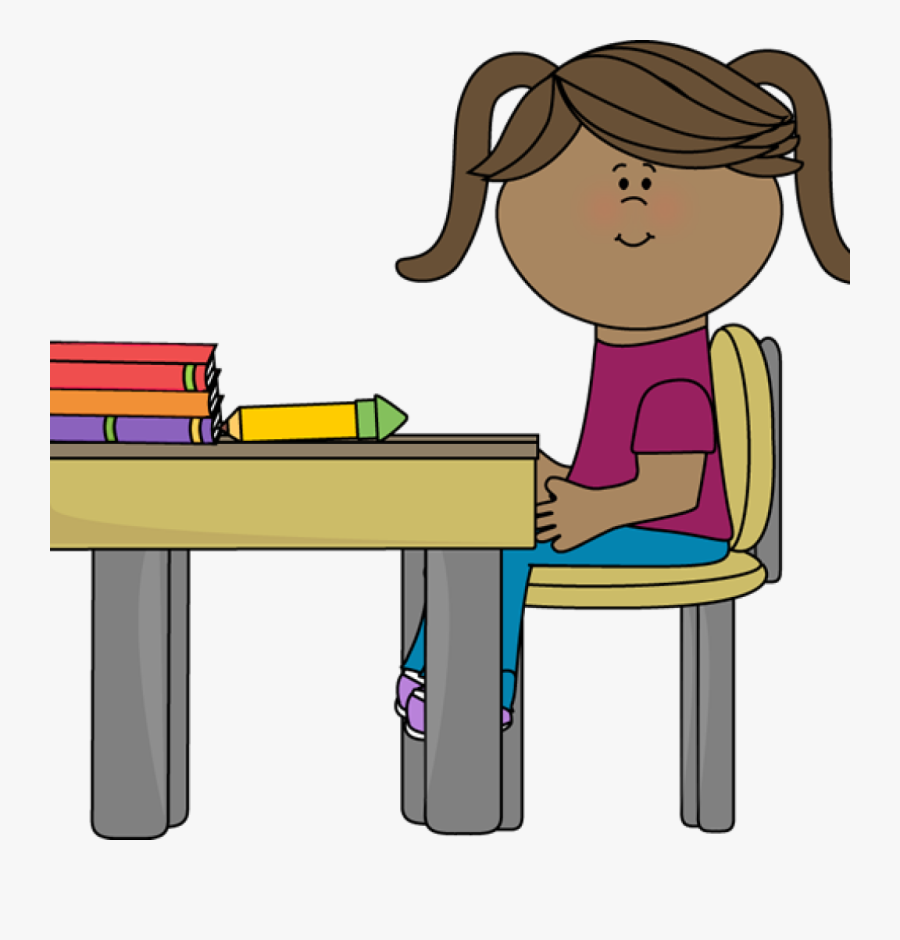 Student Working At Desk Clipart School Girl Sitting - Girl Sitting At Desk Clipart, Transparent Clipart