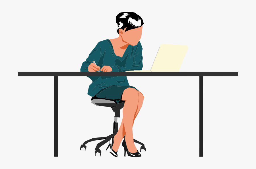 Transparent Sitting In A Chair Clipart - Person Sitting At Desk, Transparent Clipart
