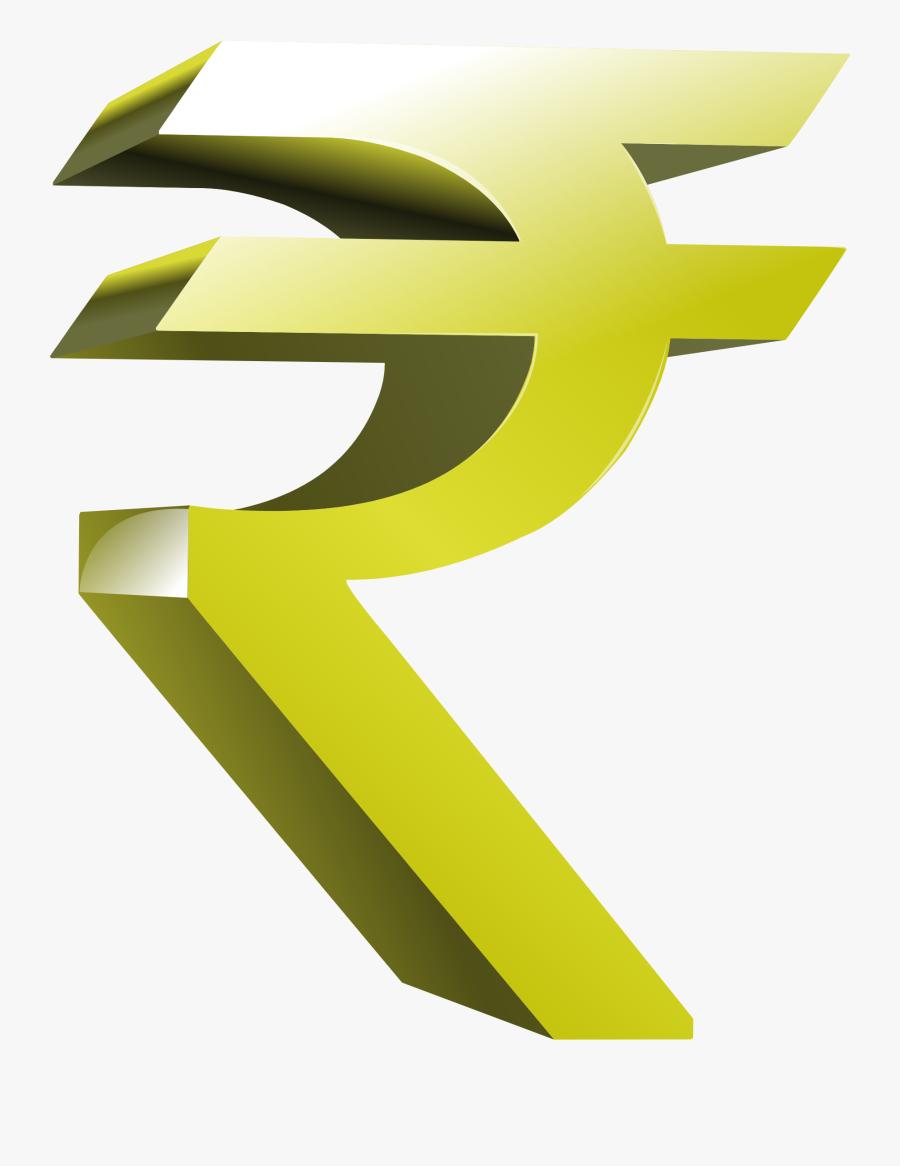 Angle,symbol,yellow - Rupee Symbol 3d Png, Transparent Clipart