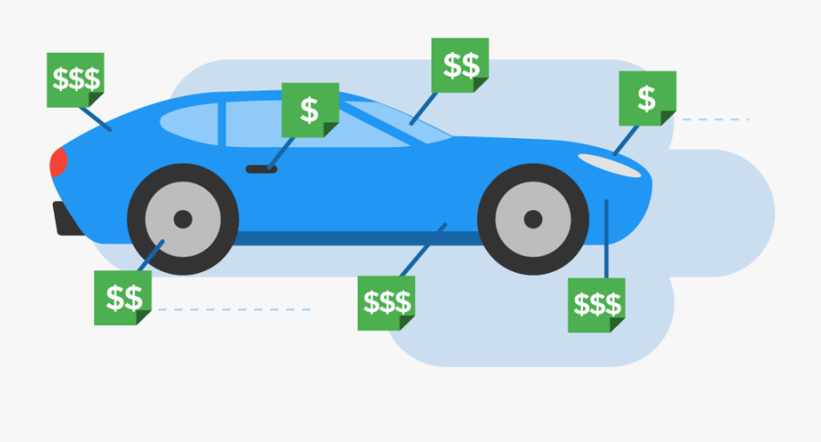 Dollar Signs Pointing To Different Areas Of A Car - Wasting Money On Car, Transparent Clipart