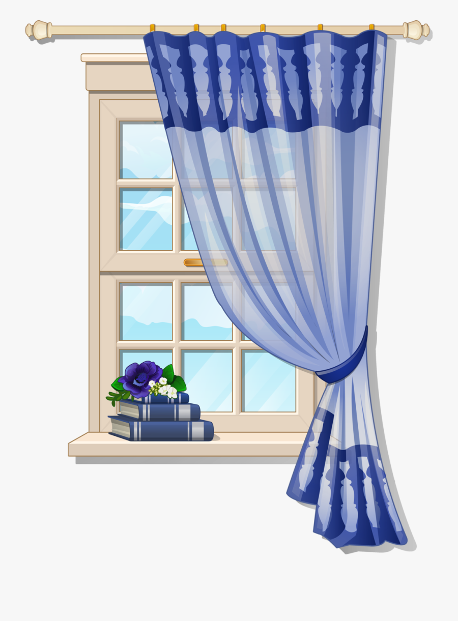 Window With Blue Curtons - Window Clip Art, Transparent Clipart