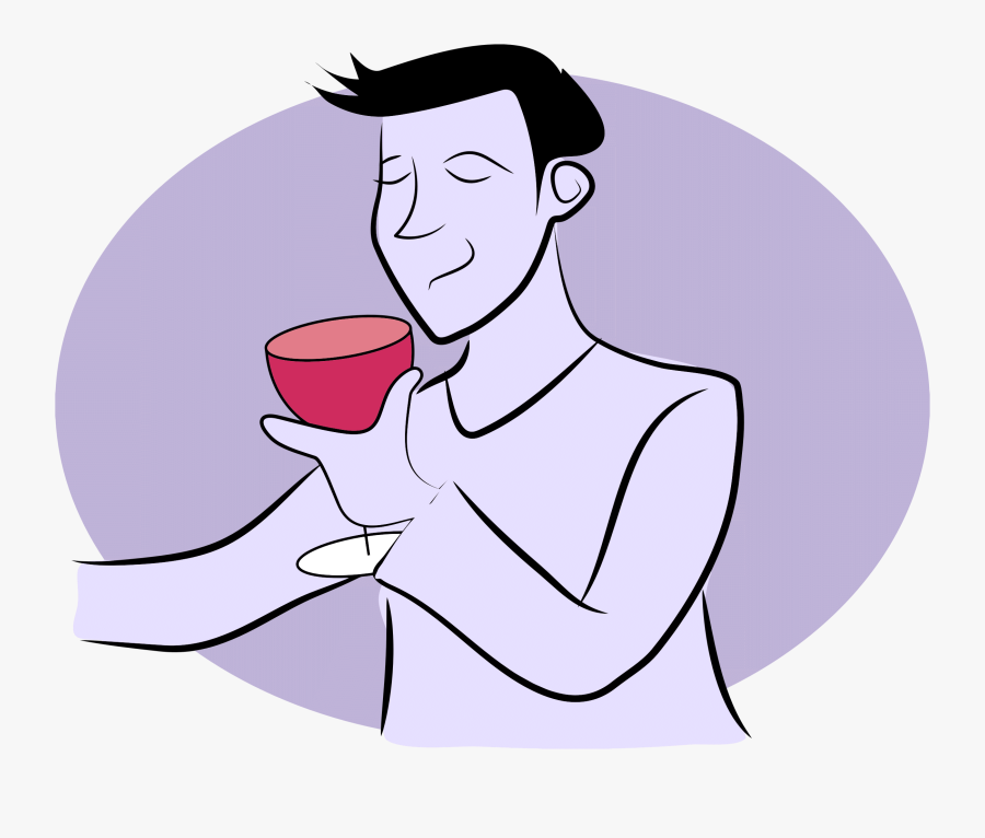 Middle Aged Woman Drinking Wine Clipart - Cartoon Man Drinking Wine, Transparent Clipart