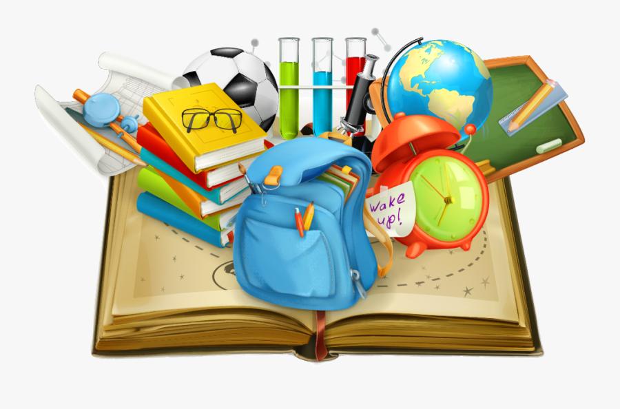 School Vector Books Student In Supplies Education Clipart - School Books Teacher Clipart, Transparent Clipart