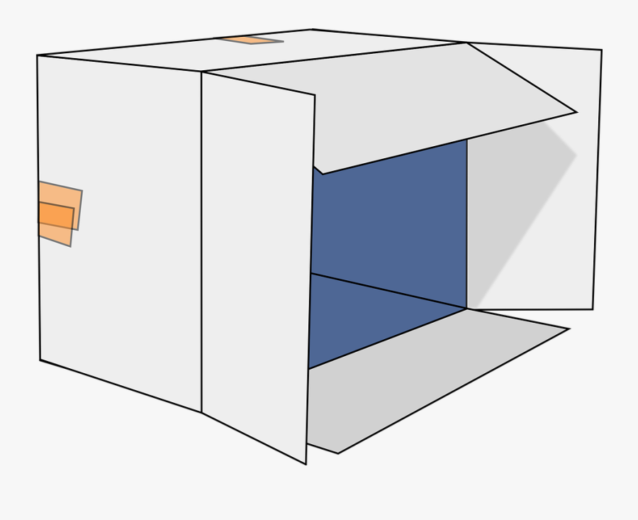 Cardboard Box, Open, Box, Cardboard, Empty, Package - Cardboard Box Tipped Over, Transparent Clipart