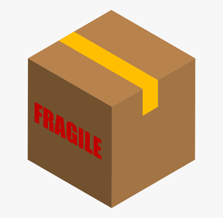 Transparent Package Delivery Clipart - Box That Says Fragile, Transparent Clipart