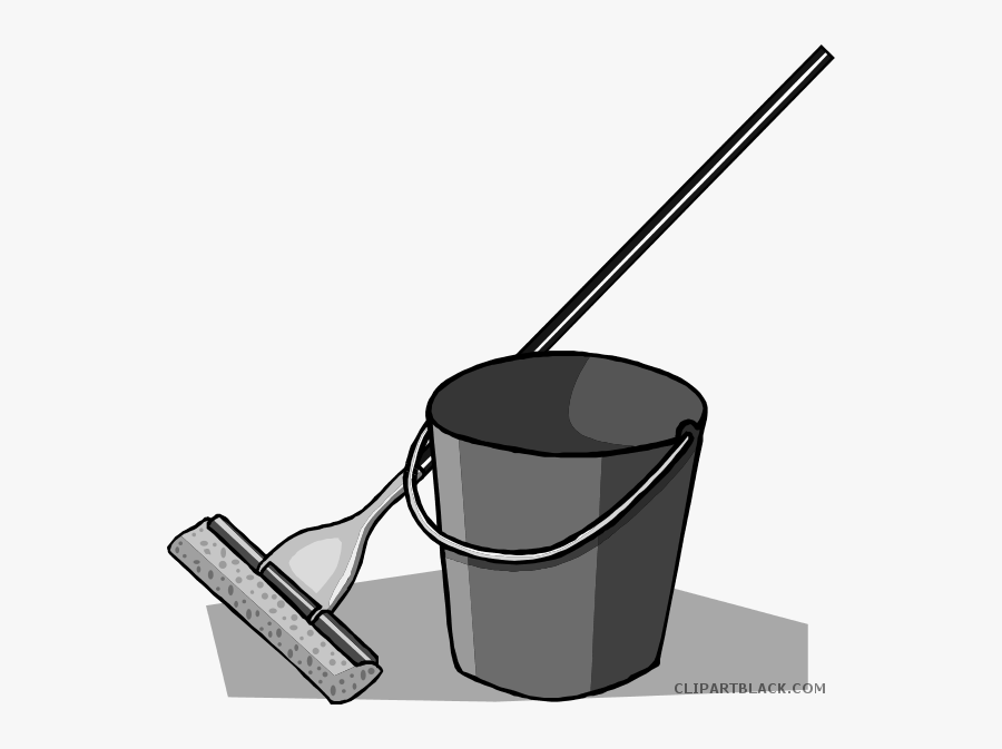 Transparent Bucket Clipart Black And White - Clip Art Mop And Bucket, Transparent Clipart