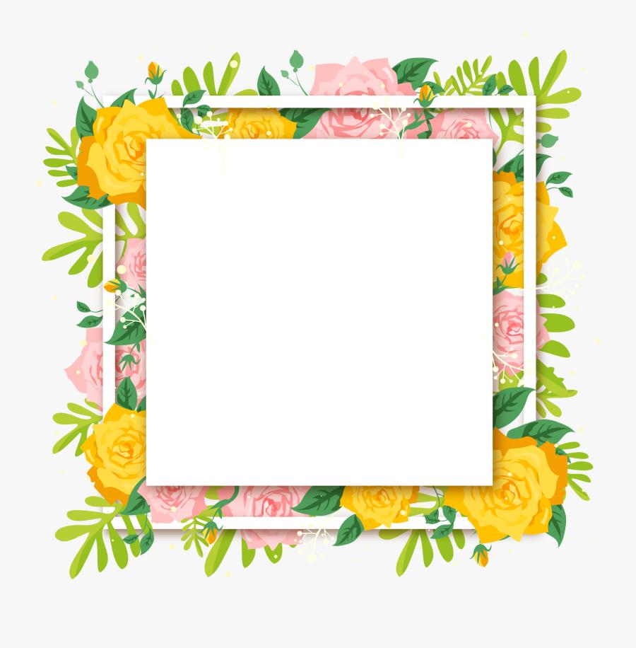 Beautiful Summer Flower Decoration Euclidean Vector - Picture Frame, Transparent Clipart