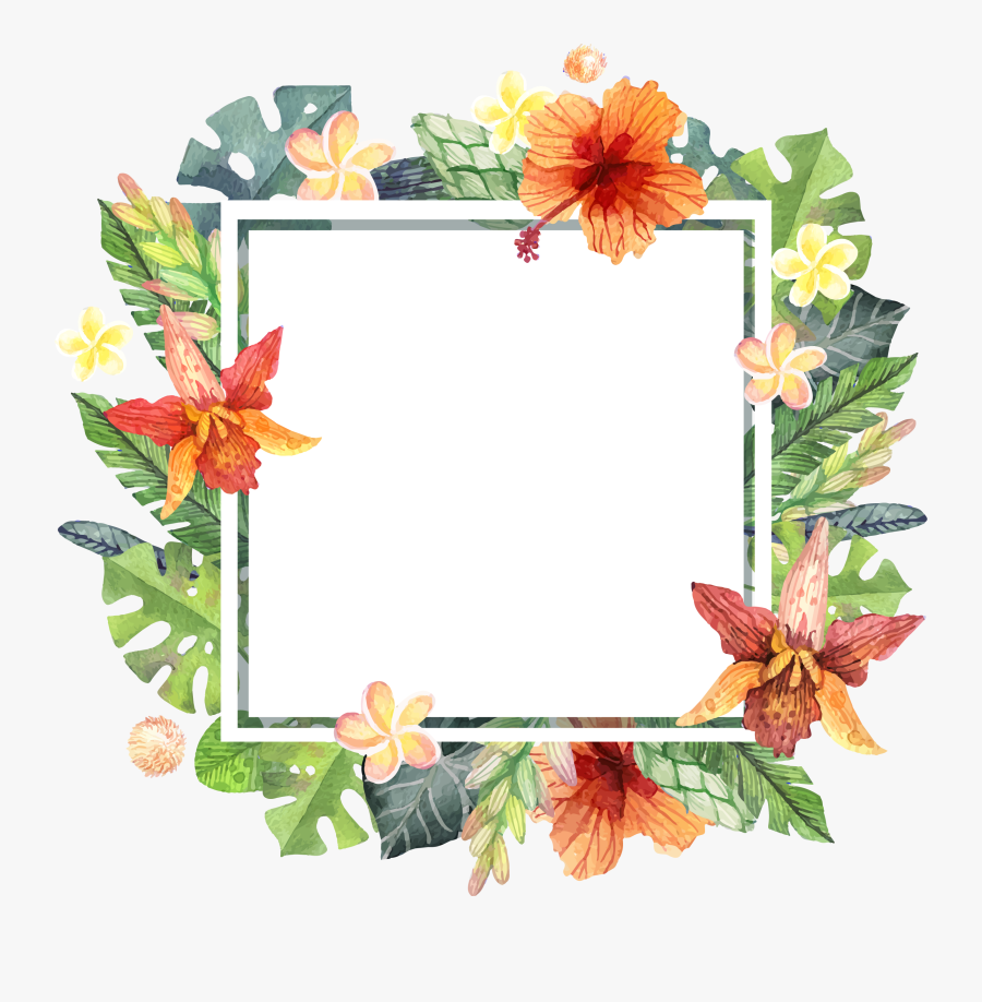 Download Summer Painted Hand Watercolor Computer File - Tropical Flower Frame Png, Transparent Clipart