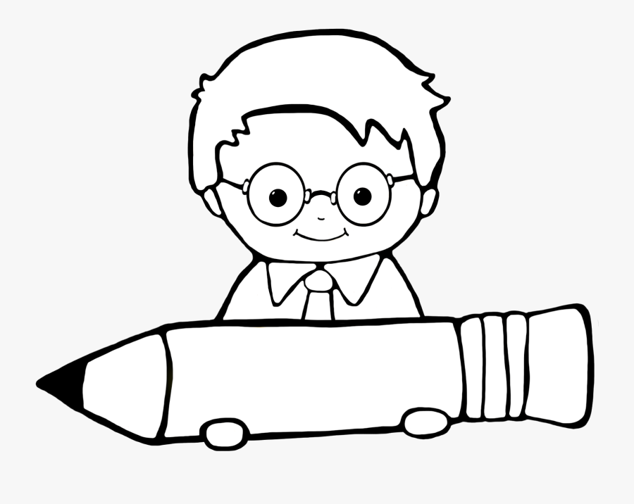 Student Clipart Writing Poetry - Boy Student Clipart Black And White, Transparent Clipart
