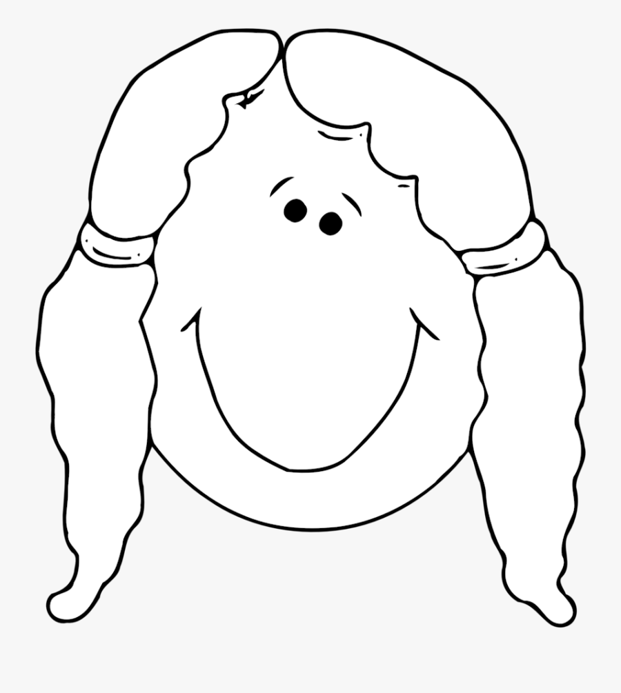 Smiling Girl Face Outline Svg Clip Arts - Blank Girl Face Clipart Black And White, Transparent Clipart