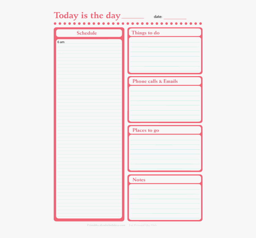 Clip Art Daily Organizer Template - Daily Planner Printables 2017, Transparent Clipart