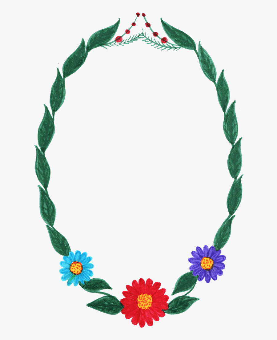 10 Watercolor Oval Frame With Flowers Png Transparent - Frame Circle Flower Png, Transparent Clipart