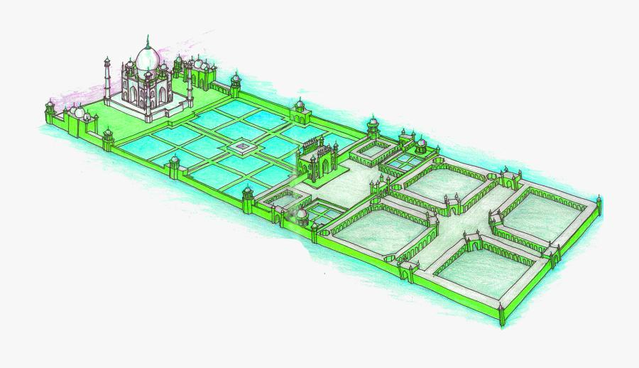 Transparent Taj Mahal Clipart - Plan Of Taj Mahal, Transparent Clipart