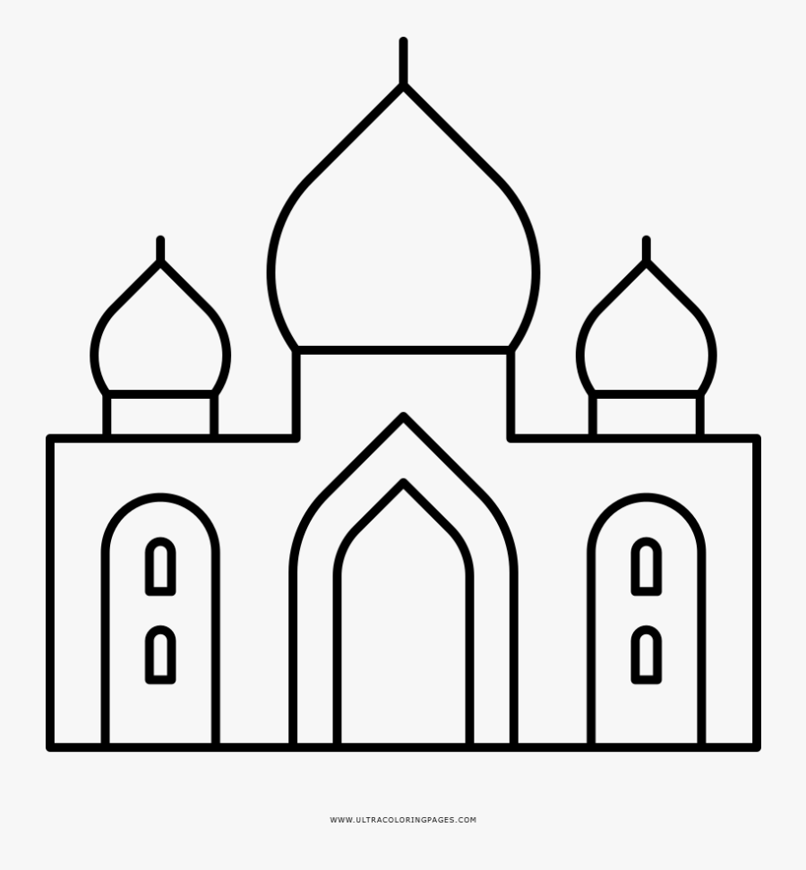 Taj Mahal Coloring Page - Simple Line Drawing Taj Mahal, Transparent Clipart