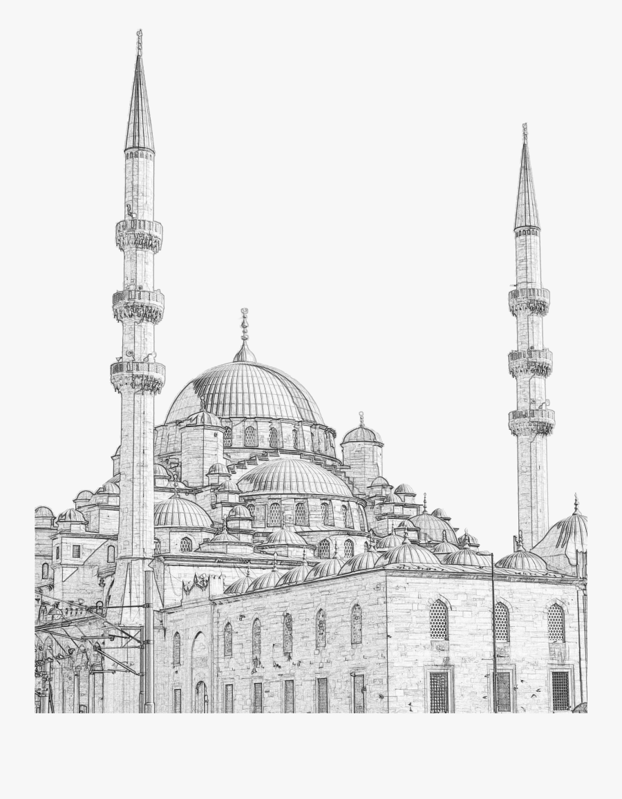 Clipart Free Download Taj Mahal Painting Line Transprent - Mosque Drawing Png, Transparent Clipart