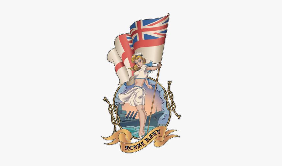 Pin-up Girl Royal Navy Illustration Vector Graphics - Royal Navy Sailor Tattoo, Transparent Clipart
