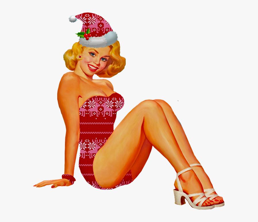 Christmas Pin Up Girl Pin Up Woman Sweater Pattern - Transparent Pin Up Girl Png, Transparent Clipart