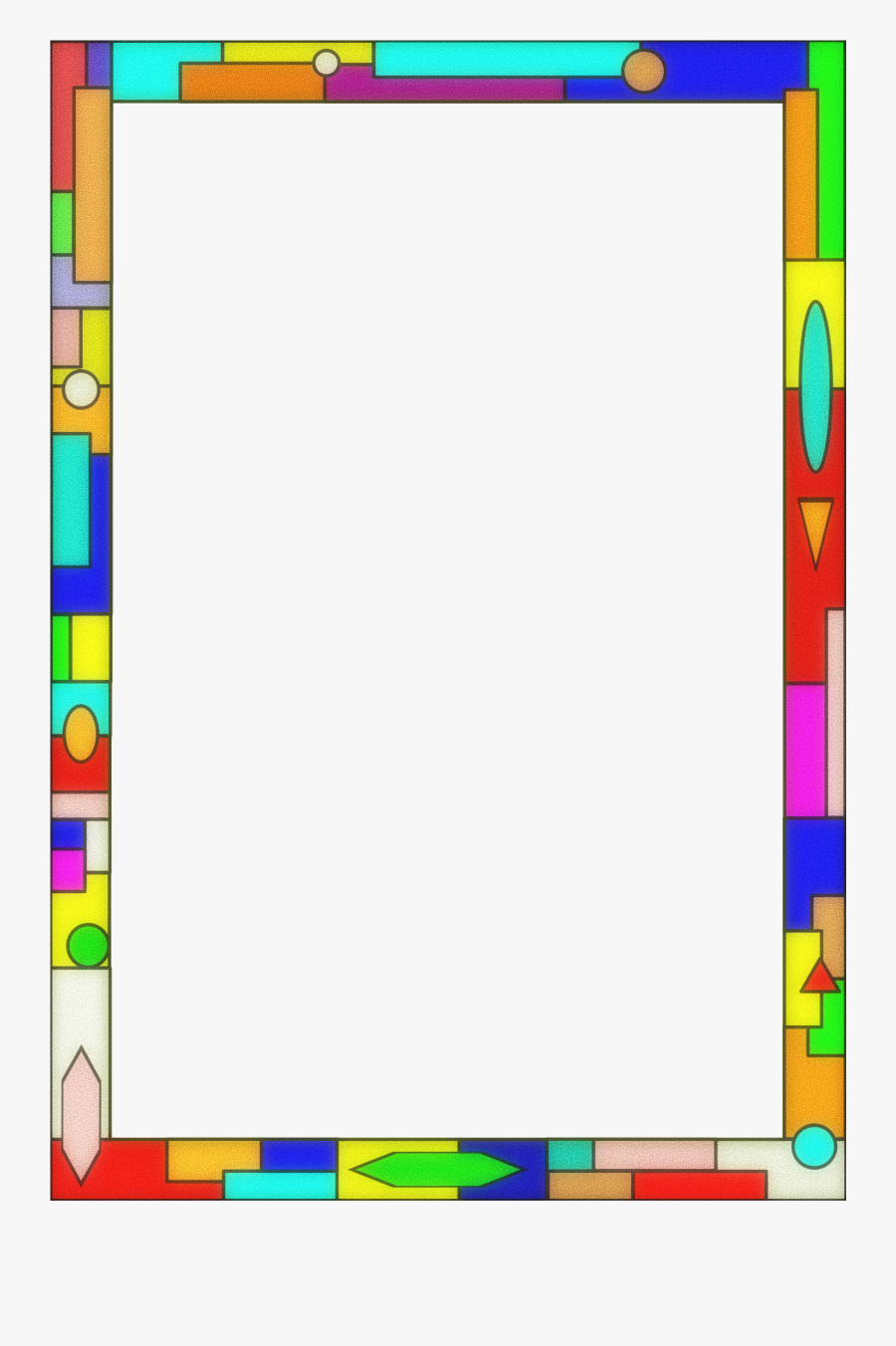 Clipart - Stained Glass Page Border, Transparent Clipart