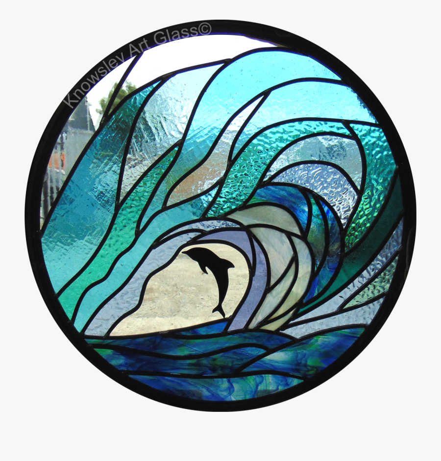 Transparent Stained Glass Clipart - Wave Stained Glass Circle, Transparent Clipart
