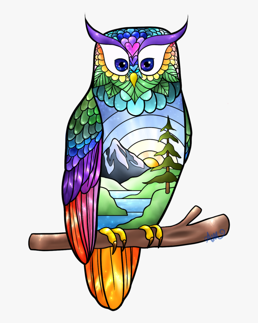Owl Stained Glass By Sisukalat - Stained Glass, Transparent Clipart