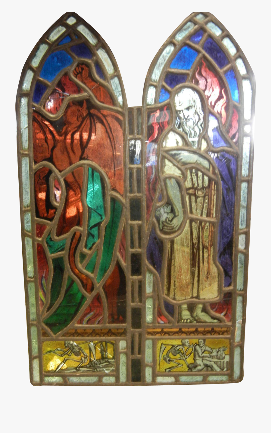 Antique Stained Glass Window Panel Judas Selling To - Stained Glass, Transparent Clipart