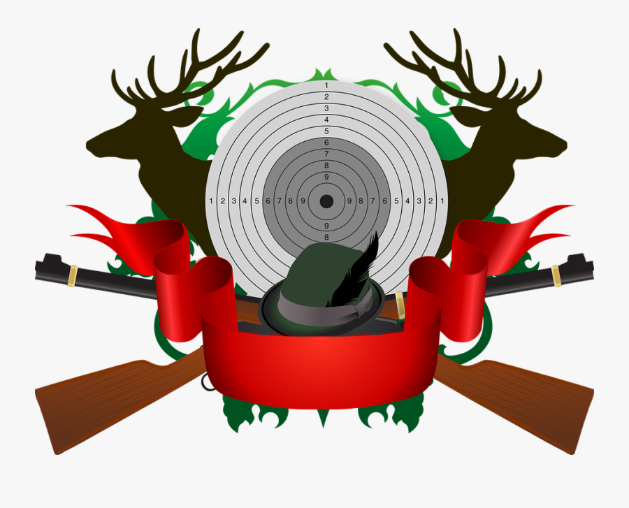 Hunting, Target, Red Deer, Rifle, Hat, Feather, Hunter - Охота Png, Transparent Clipart