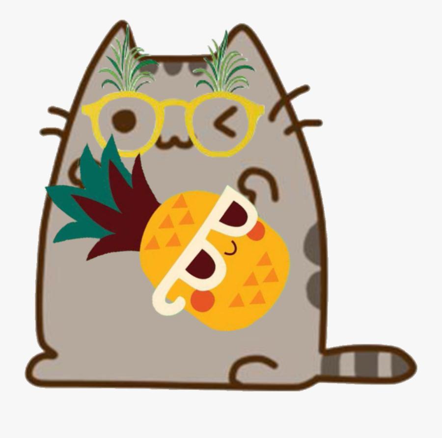 #pusheen #pineapple #cute #summer #cat #kitty #friends - Pusheen Cat Memes, Transparent Clipart