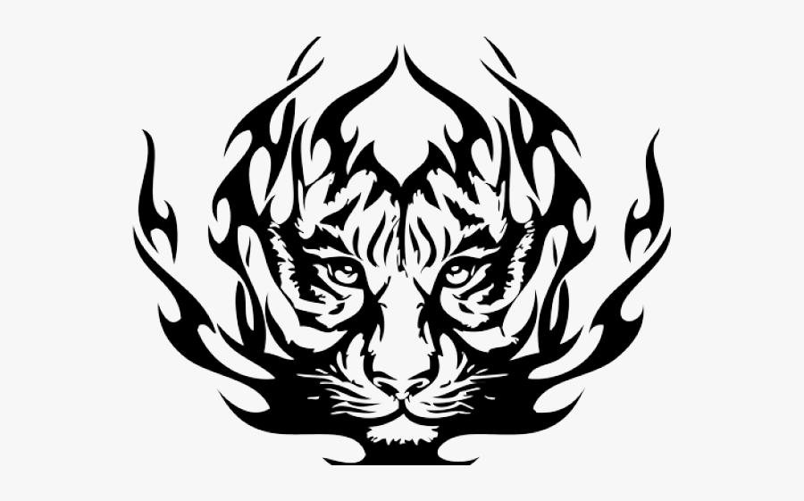 Rose Tattoo Clipart Head - Tribal Tiger Face Tattoo, Transparent Clipart