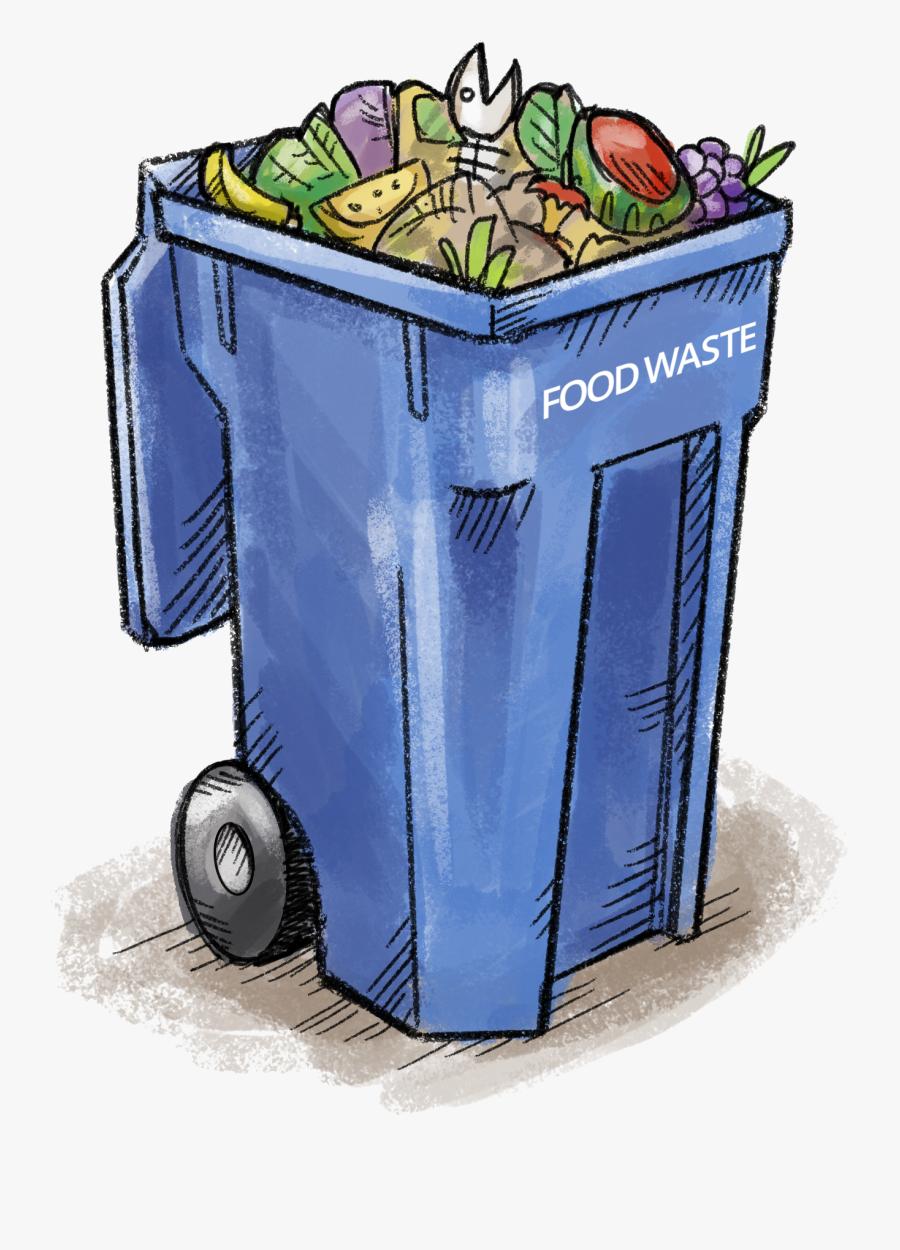 Food Waste Bin - Garbage Bin Full Of Plastic Cartoon Png, Transparent Clipart